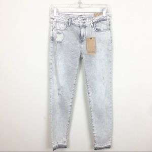 NWT Zara Mid Rise Skinny Crop Jeans Washed Out